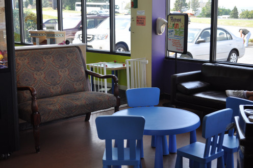 Comfy chairs and couches, child-friendly tables as well as some for adults.