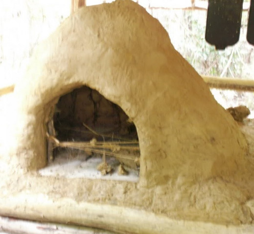 This is the first mud oven we built right before we fired it.