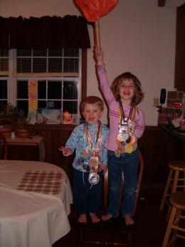 With our homemade Olympic torch we stood proud wearing all our medals.