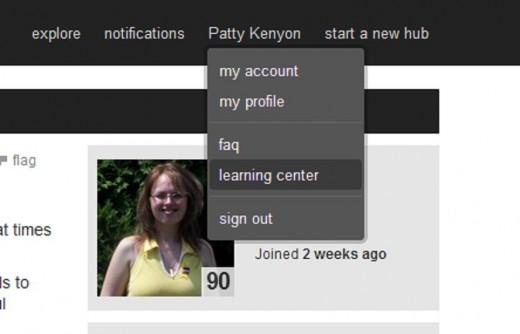 Screenshot:  Learning Center