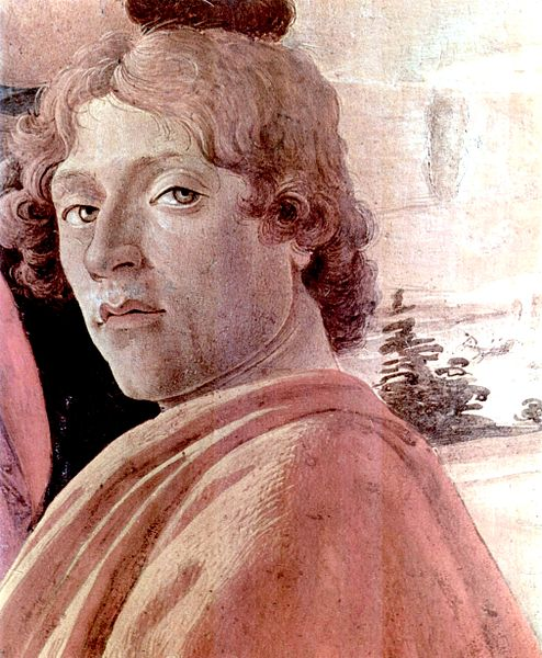 "Taken from Boticelli's ""Adoration of the Magi,"" this part is thought to be a self-portrait."