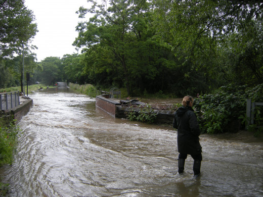 Local road turned into a river.