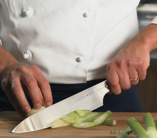 The chef's knife is a hard working tool in the kitchen.