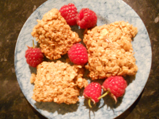 Home made flapjack with fresh raspberries