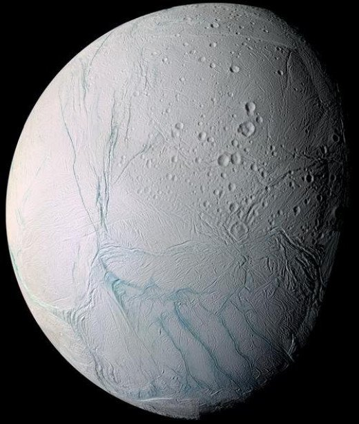 A mosaic image of Enceladus. You can see the mysterious 'Tiger Stripes' in the southern hemisphere. Each is around 130km long and 2km wide.
