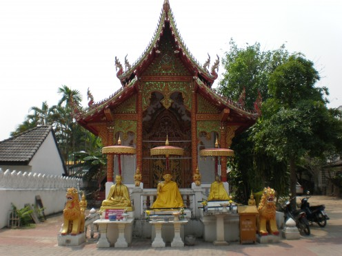 "Singha lions are one of the characteristic features of northern Thailand architecture featured at Buddhist Temple ""Wat Meh Thang"" in Chang Mai, Thailand."