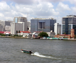 Chao Phraya river and Thonburi district of Bangkok