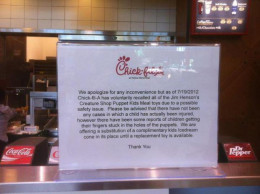 Chik-Fil-A lying again about why they didn't have Muppet toys. They later changed their story to another lie..