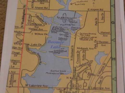 "Map of Boomer Lake, Stillwater, Oklahoma With the ""Hot Spots"""