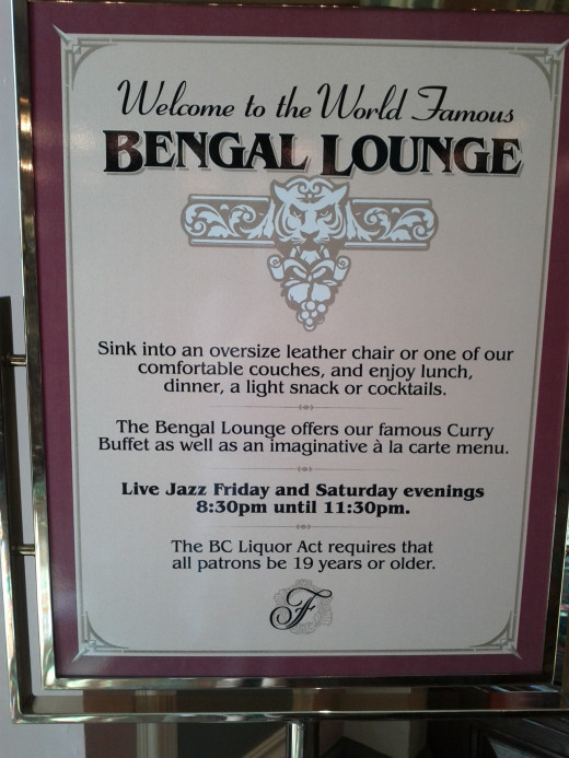 The Bengal Lounge offers delicious curries, cocktails and live entertainment.