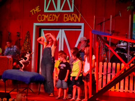 My son on the back row helping out on stage with the Comedy Barn Canines.