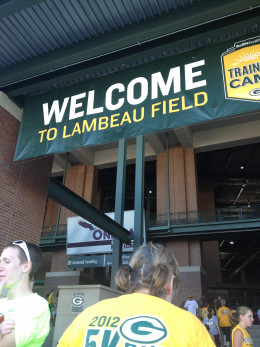 Our Welcome to Lambeau Field, home of Superbowl Champions Green Bay Packers,  in Green Bay, WI