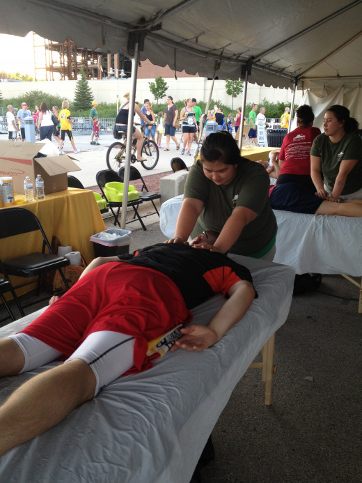 The free mini massages provided by a local massage school was a pleasant surprise at the end of the race