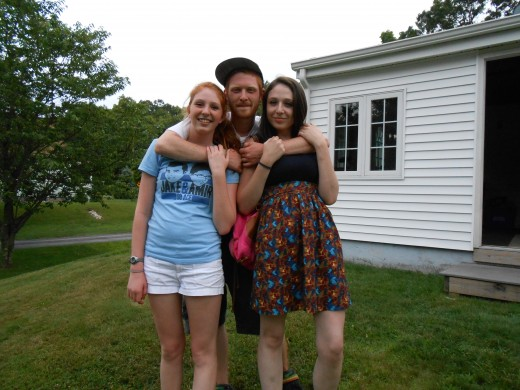 The girls today at 17, Michaela, left, and Morgan, right, with their big brother, Matthew.