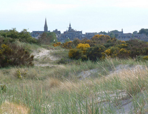 The town of Nairn, as seen from the sand dunes