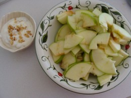 Apples with the yogurt on the side for dipping.