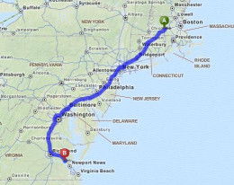 561 miles from home in Massachusetts to Williamsburg, VA.  10 hours 2 minutes accourding to Mapquest.