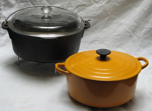 Modern Dutch ovens have looped handles on the side of the dish and an enamel coating.