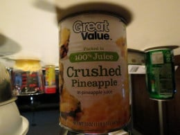 I opened the can before I took the picture.  Yes it is upside down.  You actually only need a half can or an 8 oz can for this recipe unless you prefer to have the crushed pineapple on the burger instead of the pineapple ring.