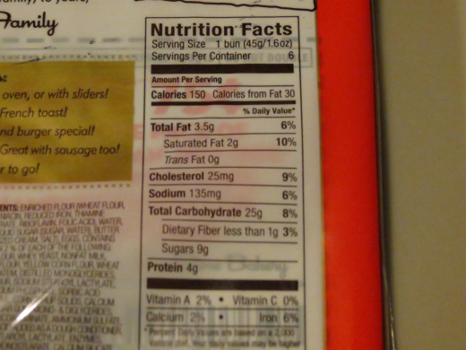 Nutrition information from the bun package.