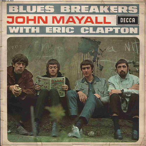 The Blues Breakers with Eric Clapton album cover, with a disinterested Clapton reading a comic book.