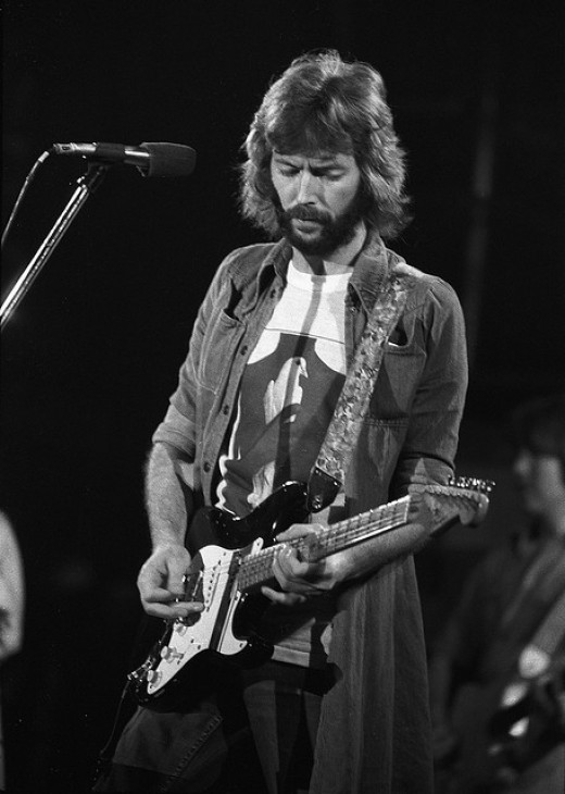 Clapton in the 1970s, playing the Stratocaster for which he is best known today.