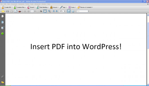 PDF for inserting into WordPress