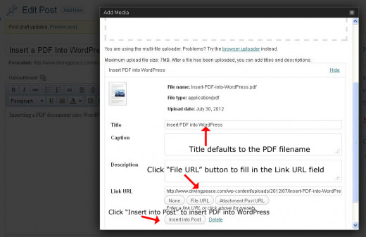 Fill in Title, Link URL fields - then insert PDF into WordPress