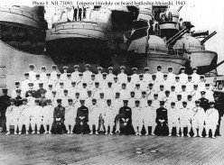 Emperor Hirohito of Japan (front row, 9th from left) with officers of the Imperial Navy, on board the battleship Musashi in June 1943.