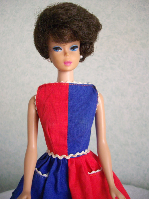 Bubble cut Barbie wearing Fancy Free fashion #943, 1964