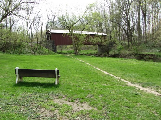 A covered bridge in the Lancaster County Park in Pennsylvania