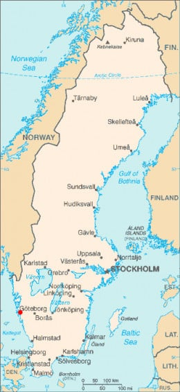Map location of Gothenburg, Sweden