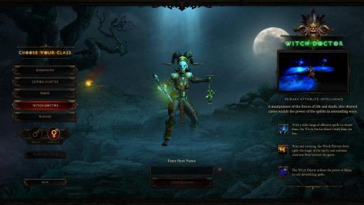 Diablo 3 Witch Doctor Character Creation