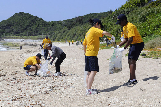 A beach clean up organized by sailors from the command ship USS Blue Ridge (LCC 19) in Okinawa, Japan