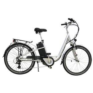 A great looking electric bike, note the battery below the seat and the rear cycle rack for storage.