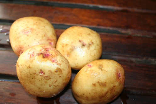 New Potatoes after being washed clean