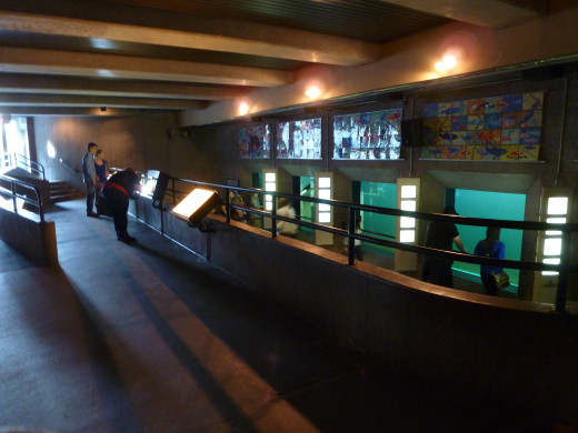 The underwater viewing room of the fish ladder
