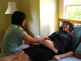 A midwife measures the height of the mother's fundus at about 26 weeks to determine the probable gestational age of the fetus.