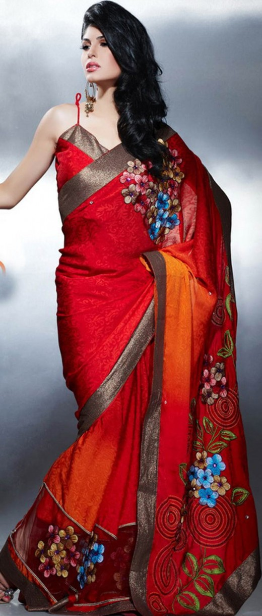 Red Jacquard Saree with Blouse
