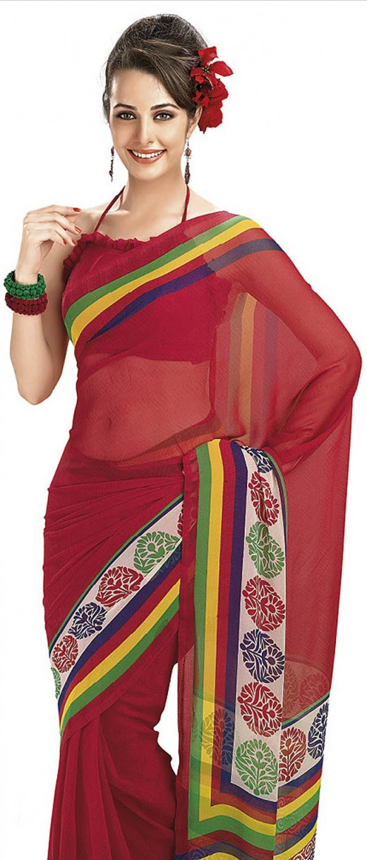 Red and Off White Faux Georgette Saree with Blouse