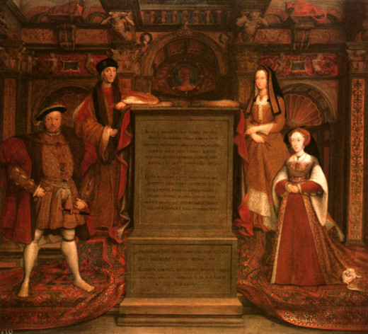 Copy of the original dynasty mural. Featured are the parents of King Henry VIII - King Henry VII and Queen Elizabeth of York. Opposite King Henry VIII is Jane Seymour.