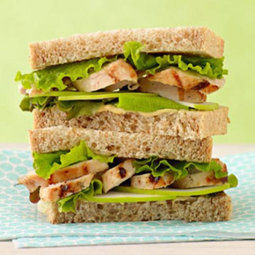 Chicken sandwich on wheat toast