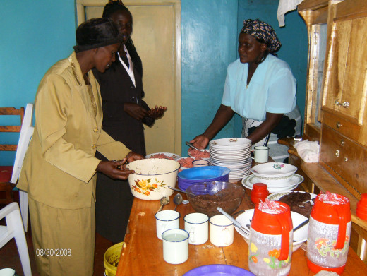 Mothers prepare a healthy balanced meal