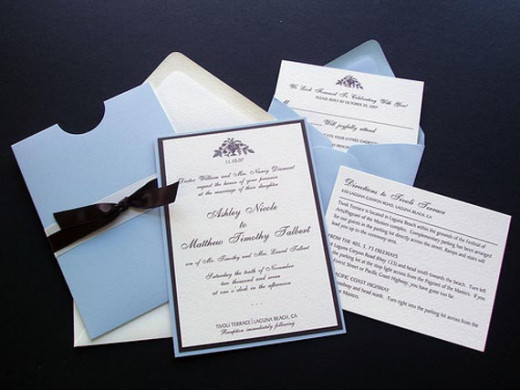 A complete invitation set with RSVP card, direction card, and invitation.