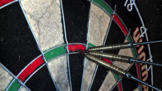 180! Thrown with my Unicorn Raymond Van Barneveld Hero Gold Titanium darts.  My first ever.