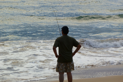 Fishing at Kahalani Beach on Kaua'i