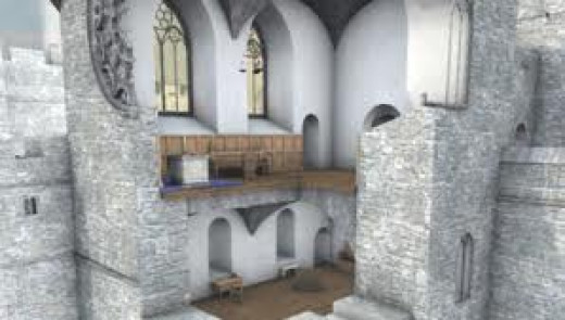 Middleham Castle reconstruction of the chapel, the 'soul' of the stronghold