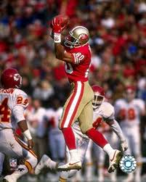 Jerry Rice could soar through the air as illustrated here. Of course he had two legendary quarterbacks giving him the ball in Joe Montana and Steve Young.