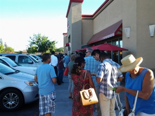 The line out the door of the Elk Grove Chick-fil-A