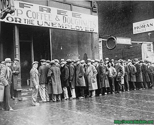 Depression-era line-ups for people with very little money - the last time money started to disappear...